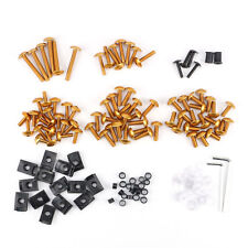 Motorcycle Sportbike Fairing Body Bolts Kit Fastener Clips Screws Gold