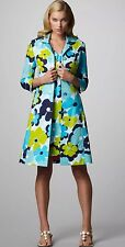 LILLY PULITZER Kiera Jacket Coat Floral Trench Preppy Green Blue Turquoise Sz M
