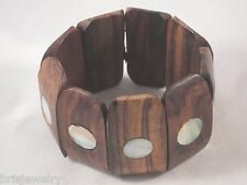 Beautiful Wooden Stretch Bracelet with Mother of Pearl Inlays