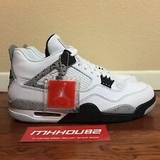 New DS Air Jordan IV 4 Retro OG 89 White Cement With Nike On The Back Size 11