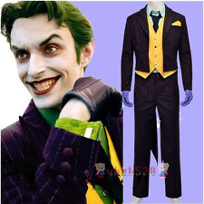 Batman Arkham Asylum Dark Knight Rise Joker Cosplay Full Set Costume Tailcoat