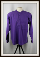 PURPLE ~ COLLARLESS LONG SLEEVE GRANDAD SHIRT ~ 100% COTTON ~ S, M, L, XL, XXL