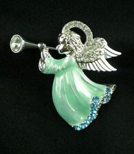 Napier Boxed Blue Herald Jeweled Angel Crystal Brooch Pin Holiday New SilverTone