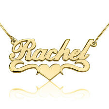 Heart Name Necklace 24k Gold Plated Underlined Fashion Nameplate Hand Made