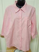 Izod Woman's Plus Redish Pink/White Striped Button Down Shirt Size 1X