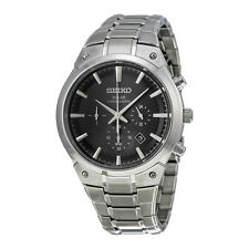 Seiko Core Chronograph Black Dial Stainless Steel Mens Watch SSC317