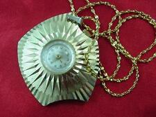 VTG Endura Gold Plated Framed Watch Pendant  Necklace Swiss Made Wind Up  #1528