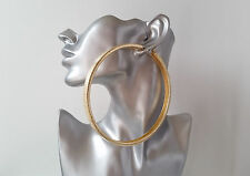 *NEW* BIGGEST ever! 12cm GOLD TONE HUGE square tube patterned BIG hoop earrings