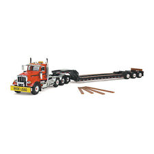 1:50 First Gear *ORANGE & BLACK* PETERBILT 367 Semi Truck w/Tri-Axle LOWBOY NIB