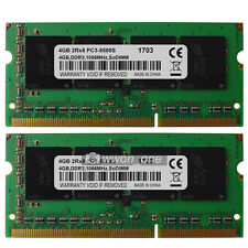 New 8GB 2x4GB DDR3 1066MHz PC3-8500S SODIMM Memory RAM For MacBook Pro iMac Mini