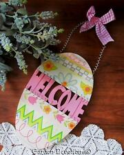 Wooden *GliTTeRY* EASTER EGG WELCOME SIGN Cute Pink Gingham Bow - SWEEEEET!
