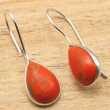 ONLINE SHOPPING FOR JUST $0.99 ! Silver Plated ORANGE COPPER TURQUOISE Earrings