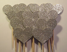 Set of 24 Silver Glitter Heart Cupcake Toppers,Table Decoration,Cardstock
