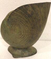 VIntage Art Deco Nautilus Sea Shell Antiqued Patina Brass Metal Vase Planter