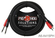 "15ft Pig-Hog Dual 1/4"" TS Mono Male Plug to 2-RCA Male Plug Audio Cable"