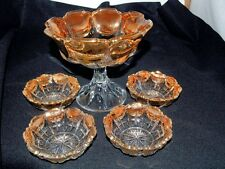 Clear Depression Glass Ribbed Gold Scalloped Rim Compote Pedestal Bowl Set
