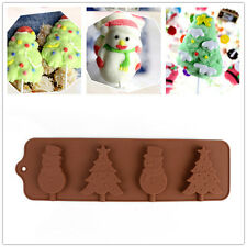 Xmas Tree Snowman Lollipop Pop Mold Silicone Chocolate Mould Baking Tray Stick