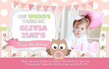10 PERSONALISED GIRLS BIRTHDAY PARTY PHOTO INVITATIONS - FIRST, SECOND, THIRD