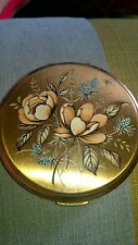 Stratton gold tone flower powder compact vintage 1960's