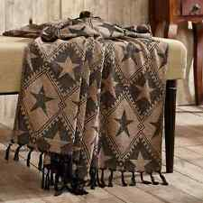 PRIMITIVE BLACK & TAN STAR THROW : RUSTIC CABIN CHENILLE QUILT WESTERN BLANKET