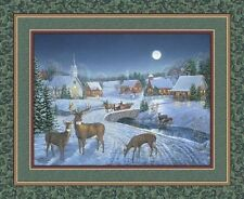 Winters Eve Country Town with Deer & Church Large Quilt Fabric Panel