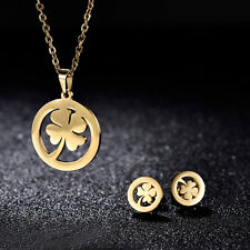 MODOU Stainless Steel Jewelry Four Leaf Clover Pendant Necklace Earrings Sets