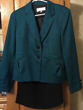 New Sz 12  2 piece Jones New York Teal and Black Skirt Suit RV $200