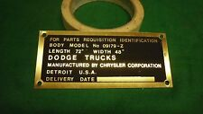 Dodge WWII WC Cargo Body data plate Brass