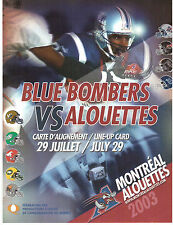 WINNIPEG BLUE BOMBERS vs MONTREAL ALOUETTES JULY 29, 2003 LINE-UP CARD !!