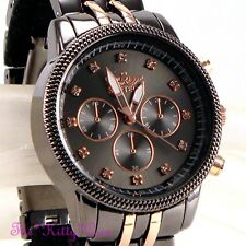 Ladies Gunmetal & Rose Gold Crystal Bling Sporty Statement Bracelet Dress Watch