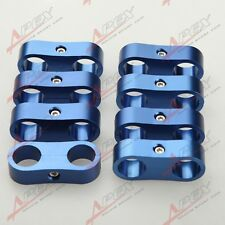 8PCS -4AN AN4 AN-4 4AN Billet Fuel Hose Separator Fittings Adapter Blue