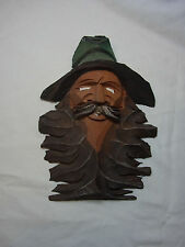 Vintage German Black Forest Carved Wood Gnome Wall Ornament #S