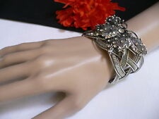 NEW WOMEN DARK SILVER METAL CUFF FASHION BRACELET BIG BUTTERFLY HOT RHINESTONES