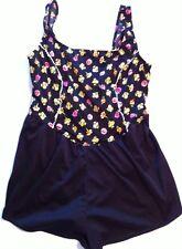 Pacific Connections 20W Swim Dress suit skort Black floral flowers 1 PC Swimsuit