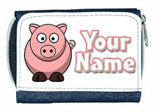 CUTE PIG PERSONALISED LADIES/GIRLS DENIM PURSE / MINI WALLET *GREAT NAMED GIFT *