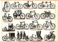ca 1890 OLD BICYCLES MOTORCYCLES Tricycles Tandem Antique Print