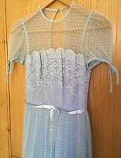 ***VINTAGE 50s BABY BLUE LACE BRIDESMAID FULL LENGTH DRESS SIZE 6***