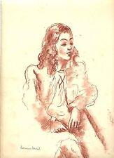 Hermine DAVID: Beau portrait jeune femme/sanguine/1940/signée/PASCIN/certificat/