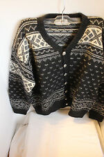 Vintage William Schmidt Oslo Handknit Fair Isle Cardigan Black/White Ladies Lg