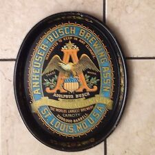 ANHEUSER-BUSCH BREWING ASS'N. A & EAGLE BLACK METAL SERVING TRAY