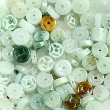 30PCS Natural Grade A Jade (Jadeite) loose Button bead/ Size: 7mm (Wholesale)
