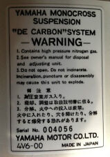 YAMAHA IT465 IT465H REAR SHOCK ABSORBER CAUTION WARNING DECAL