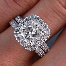 2.20 Ct. Natural Cushion Halo Pave Diamond Engagement Bridal Set - GIA Certified