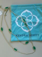 NWT Kendra Scott 'Kelsie' Long Gold Station Necklace with Green Stones