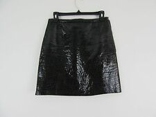 PHILLIP LIM Black Leather Goat Stepped Cut Out Slit Skirt Size 4