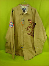 akademiks NWT MENS SZ 3XL BEIGE LONG SLEEVE LOGO ARTWORK GRAPHICS FRONT AND BACK