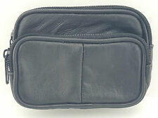 UNISEX SOFT REAL LEATHER COIN POUCH PURSE CAMERA WALLET POUCH WITH BELT LOOP1474