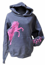 Paisley Pony Horse Hoodie,LIVE for the RIDE,S,cotton,womens,Grey,sweatshirt,