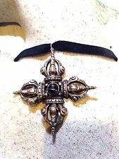 Vintage Genuine Black Star 925 Sterling Silver Tibet Cross Necklace Choker