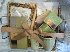 GIFT BASKET RELAXATION BATH SET SPA TEA CUP CANDLE JOURNAL SALTS MASSAGER SPONGE
